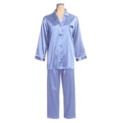 Linda Hartman Satin Charmeuse Pajamas - Long Sleeve (For Women)