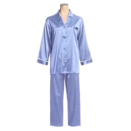 Linda Hartman Satin Charmeuse Pajamas - Long Sleeve (For Women)