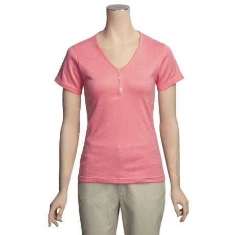 ALPS Tory Stretch Cotton T-Shirt - V-Neck, Short Sleeve (For Women)