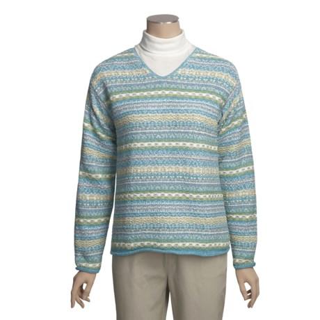 ALPS Sea Breeze Cotton Sweater - V-Neck (For Women)