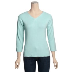 ALPS Rory Cotton Rib-Knit Sweater - V-Neck, 3/4 Sleeve (For Women)