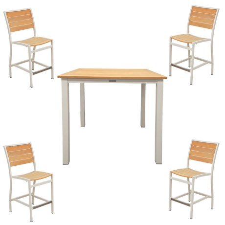 """Three Birds Casual Soho 36"""" Counter-Height Table and Four Chairs Patio Set - 5-Piece"""