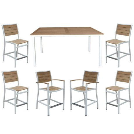"""Three Birds Casual Soho 72"""" Counter-Height Table and Six Chairs Patio Set - 7-Piece"""