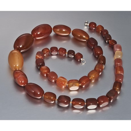 """Aluma USA Red Agate Necklace - 36"""""""