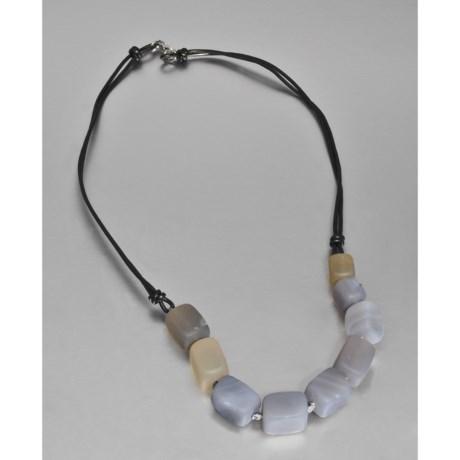 "Aluma USA Gemstone and Leather Necklace - 18"""