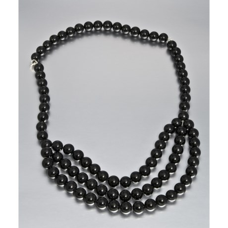 Aluma USA Convertible Black Agate Necklace