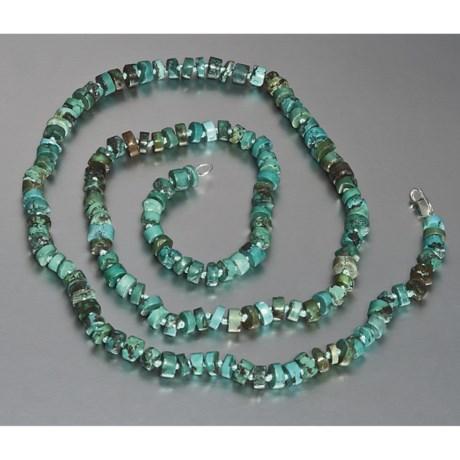 """Aluma USA Green Turquoise Necklace - Roundel Cut, 32"""""""