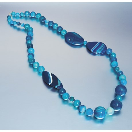 Aluma USA Blue Agate Necklace - 30""