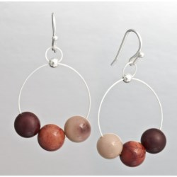 Aluma Usa Mookaite Jasper Wire Hoop Earrings