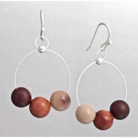 Aluma Usa Mookaite Jasper Wire Hoop Earrings