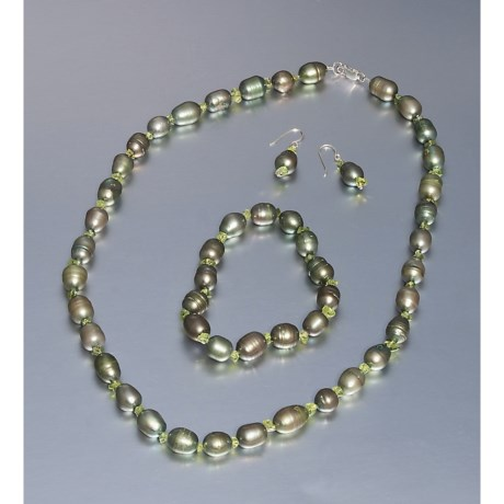 Aluma USA Freshwater Pearl and Peridot Jewelry Set