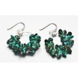 Aluma USA Green Turquoise Chip Earrings - Double Hoops