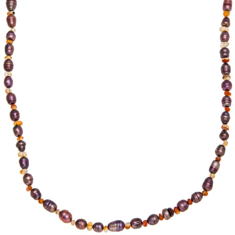 Aluma USA Long and Lean Necklace - Carnelian, Freshwater Pearls
