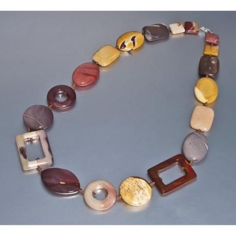 "Aluma USA Mookaite Jasper Geometric Necklace - 24"""