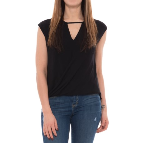 Heather Keyhole Overlap Shirt - Sleeveless (For Women)