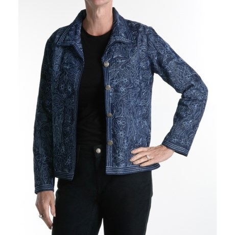 Casual Studio Denim Embroidered Jacket (For Women)