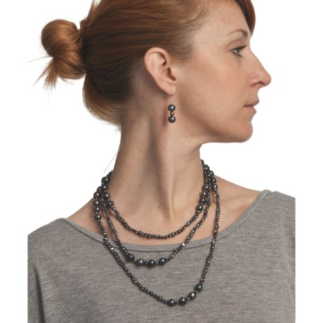 """Gemstar 62"""" Endless Necklace and Drop Earrings Set - Mixed Freshwater Pearls"""