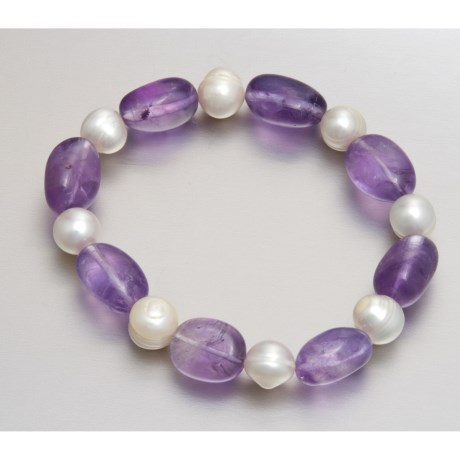 Gemstar Freshwater Pearl and Gemstone Bracelet - Stretch