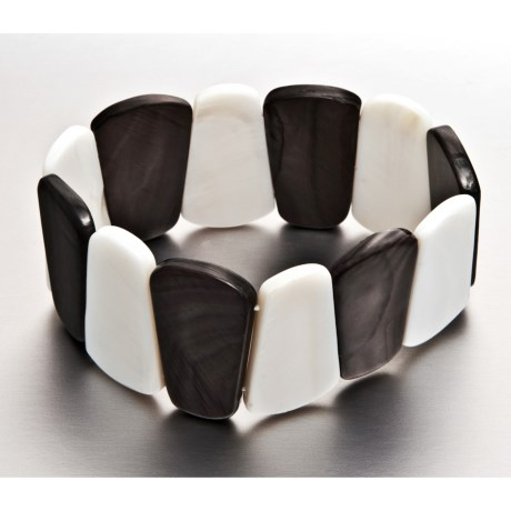 Gemstar Black and White Mother-of-Pearl Bracelet - Stretch