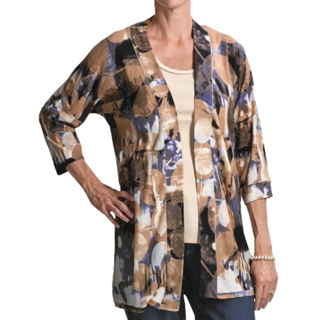 FDJ French Dressing Leaf Print Cardigan Sweater - 3/4 Sleeve (For Women)