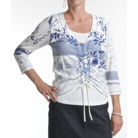 FDJ French Dressing Solid Jersey Abstract Print T-Shirt - 3/4 Sleeve (For Women)