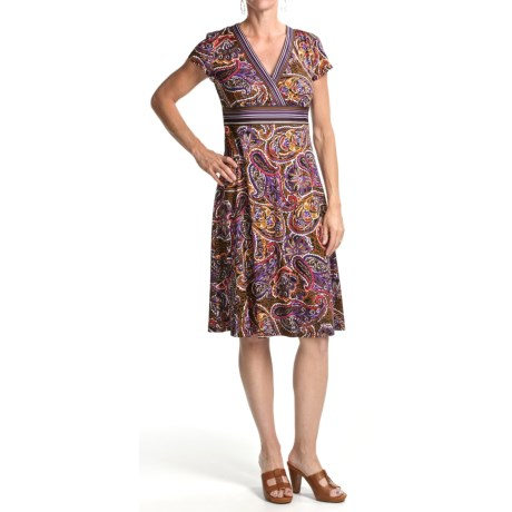 Chetta B Jersey Print Dress - V-Neck, Short Sleeve (For Women)