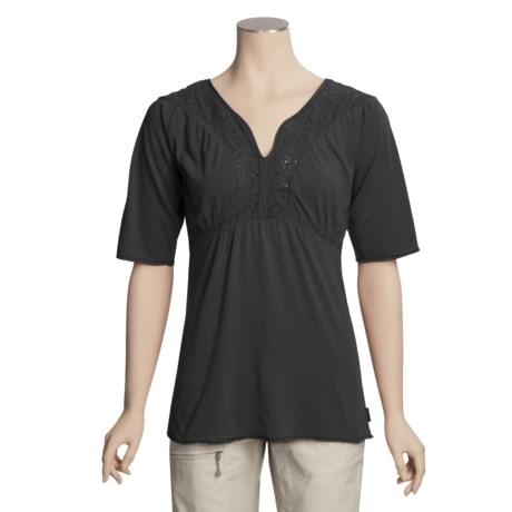 White Sierra Sugarloaf Crochet Shirt - Short Sleeve (For Women)