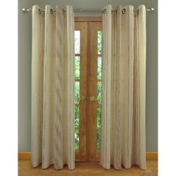 "Home Studio Ambiance Taffeta Curtains - 104x84"", Grommet-Top, Chenille Stripe"