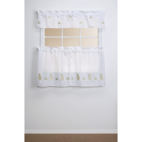 """Commonwealth Home Fashions Embroidered Kitchen Curtains - 54x24"""", Tiered 3-Piece Set"""