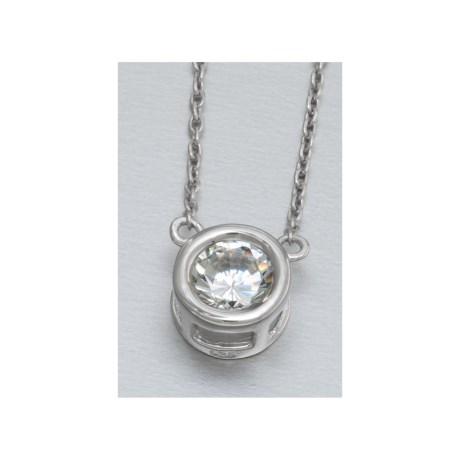 Jokara Cubic Zirconia Necklace - Single Bezel Set, 16""