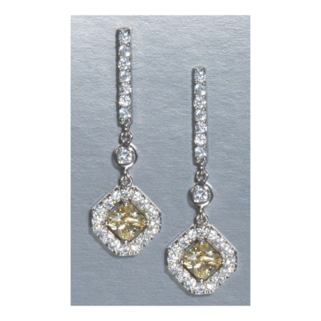 Jokara Canary Cubic Zirconia Earrings - Pave Surround