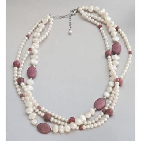 Jokara Freshwater Pearl and Rhodonite Necklace