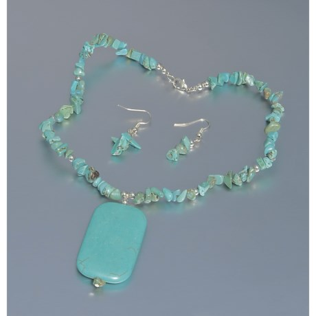 Jokara Genuine Turquoise Pendant Necklace and Earring Set