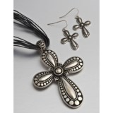 Jokara Black Cord Silver Cross Necklace and Dangle Earring Set