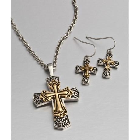 Jokara Two-Tone Cross Pendant and Dangle Earring Set