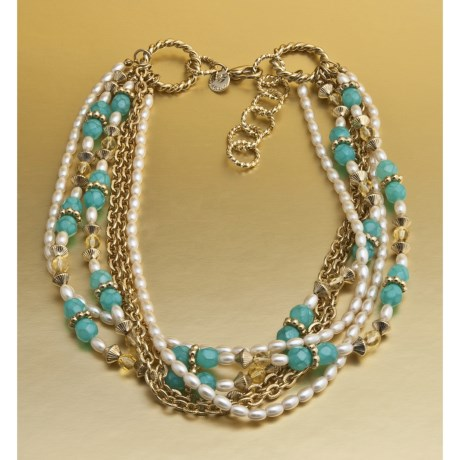 Jokara Multi-Strand Turquoise and Pearl Necklace