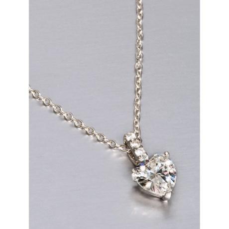 """Jokara Drop Heart Pendant Necklace - 16"""", Sterling Silver"""