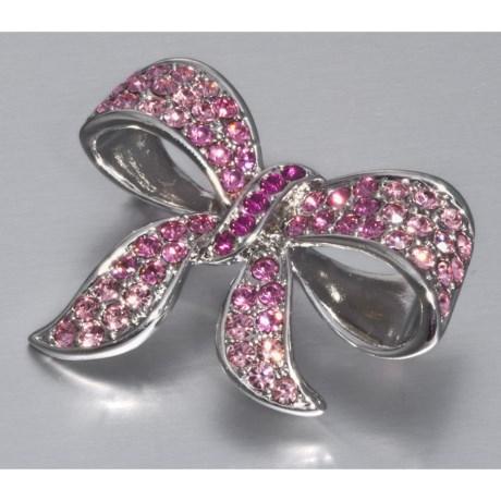 Jokara Pink Crystal Bow Pin