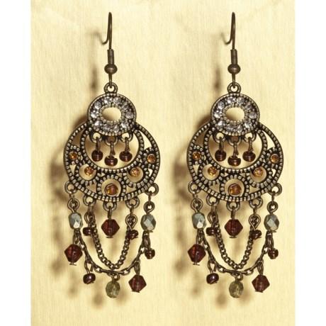 Jokara Worn Gold Dangle Crystal Earrings - Fish Hook