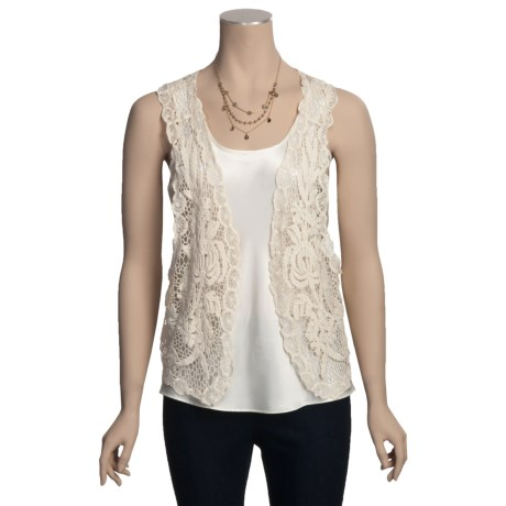 Carolina Amato Cotton Lace Vest (For Women)
