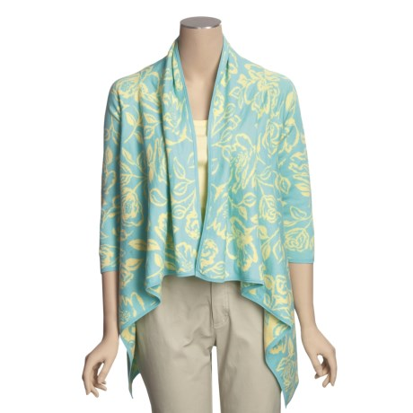 Knits with a Twist Buttercup Drape Cardigan Sweater - Pima Cotton, 3/4 Sleeve (For Women)