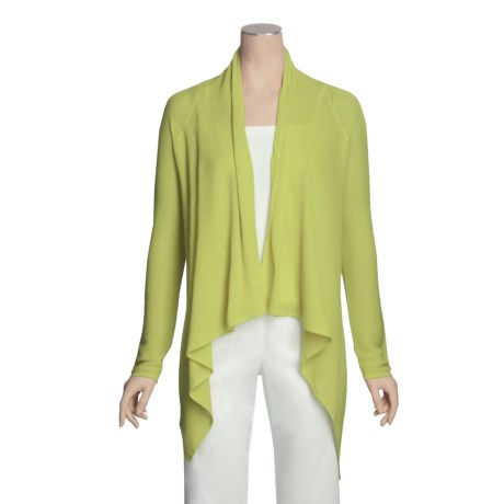 Knits with a Twist Orchid Drape Cardigan Sweater - Pima Cotton (For Women)