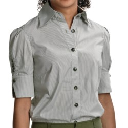 Audrey Talbott Ellen Detailed Shirt - Stretch Cotton, Short Sleeve (For Women)