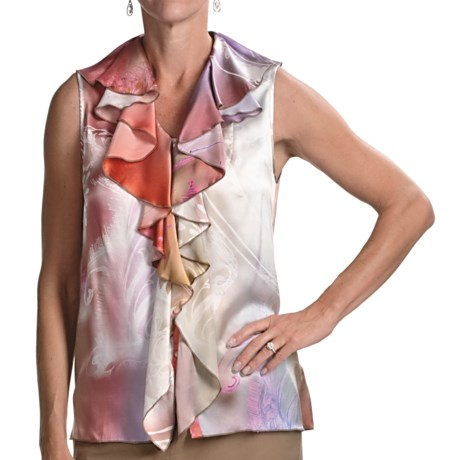 Audrey Talbott Roxx Ruffled Silk Shirt - Sleeveless (For Women)