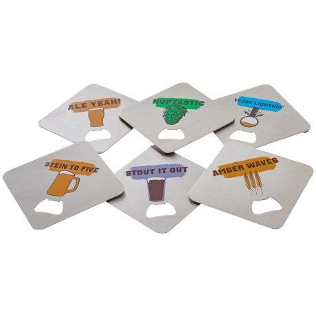 FuhlSpeed Craft Coasters with Bottle Openers - 6-Pack
