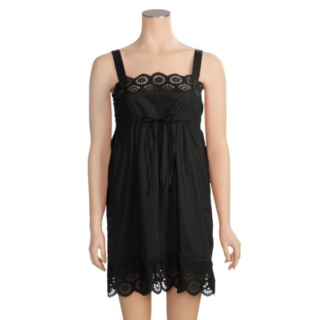 Arianne Eyelet Tank Strap Nightgown - Cotton, Sleeveless (For Women)