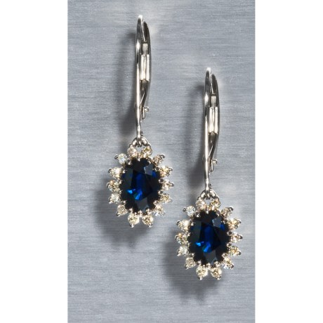 Millennium Creations Australian Sapphire Dangle Earrings - Marquis-Cut Diamond Border