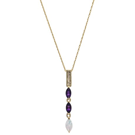 Millennium Creations Drop 10K Gold Necklace - Gemstones