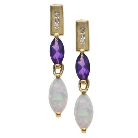 Millennium Creations Gemstone and Opal Drop Earrings - 10K Gold