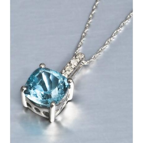 Millennium Creations Blue Topaz Necklace - 10K White Gold, Diamonds